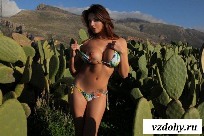 Хрупкая девушка среди больших кактусов