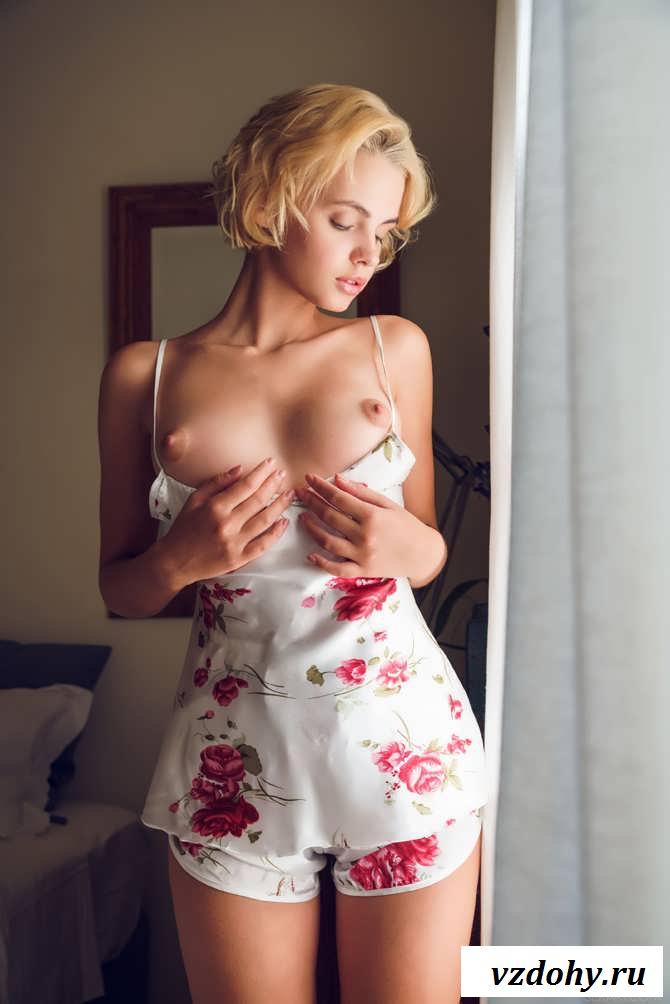 Раздетая девочка с аппетитной грудью возле окна (33 фото эротики)